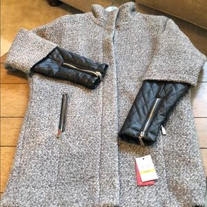 Vince Camuto grey boucle coat with faux leather
